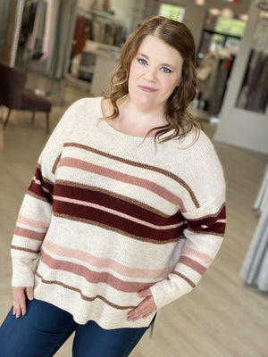 Load image into Gallery viewer, SHIMMERY KNIT DOLMAN SLEEVE STRIPED SWEATER