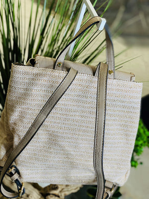 SHIMMERY STRAW AND FAUX LEATHER BACKPACK