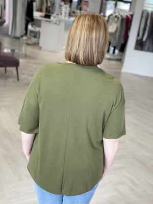 Load image into Gallery viewer, SHORT DOLMAN SLEEVE HENLEY IN OLIVE