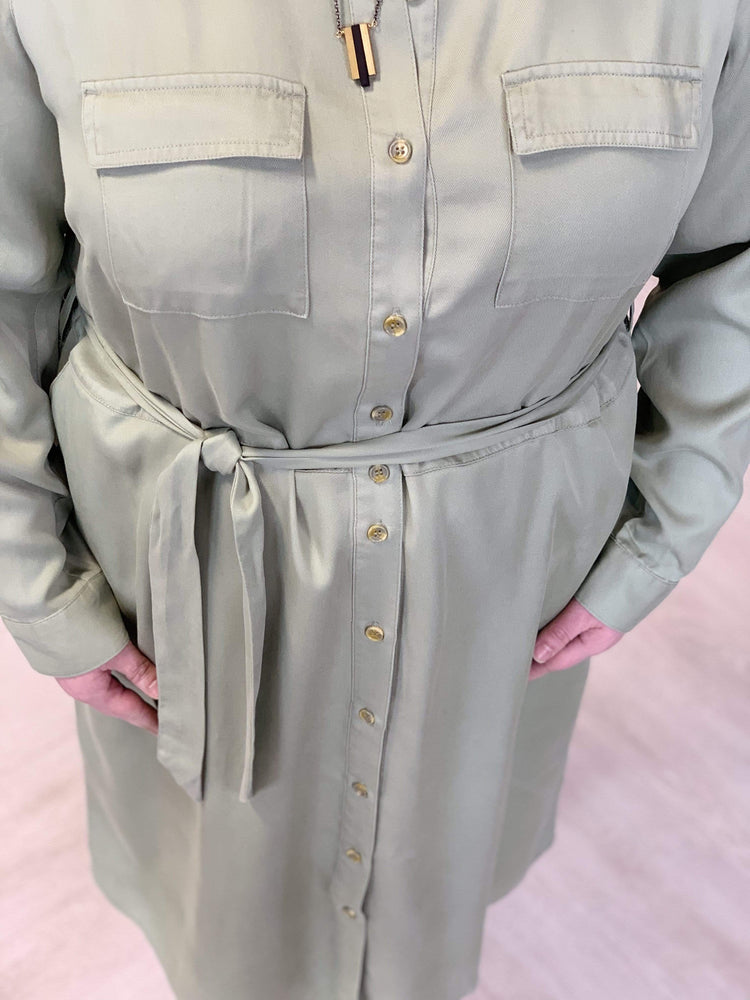 SOFT OLIVE BUTTON FRONT COLLARED SHIRTDRESS