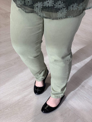 SOFT OLIVE HIGH RISE RELAXED SKINNY JEANS