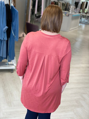 SOLID BREEZY TUNIC BLOUSE
