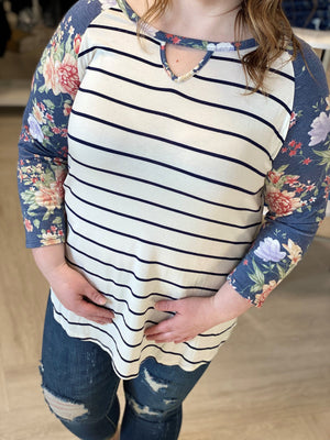 STRIPE AND FLORAL TEE WITH KEYHOLE NECK
