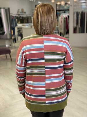 Load image into Gallery viewer, STRIPED DOLMAN LONG SLEEVE TEE