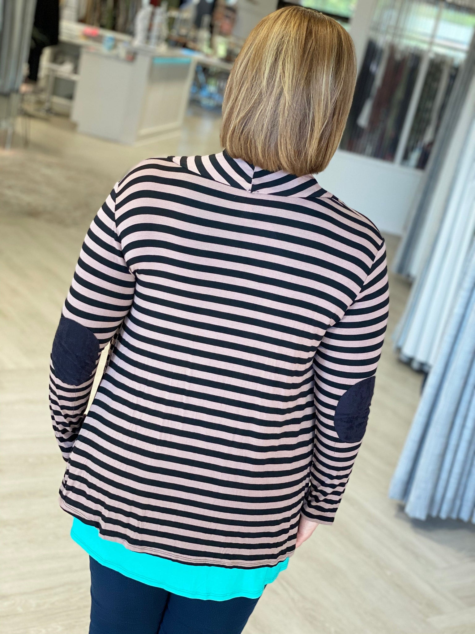 STRIPED DRAPE FRONT CARDIGAN WITH ELBOW PATCHES
