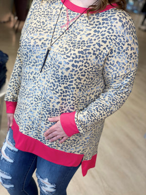 SUPER SOFT ANIMAL PRINT TUNIC WITH HIGHLIGHTER DETAILS