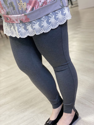 Spanx© ANKLE LENGTH PONTE LEGGING IN CHARCOAL HEATHER
