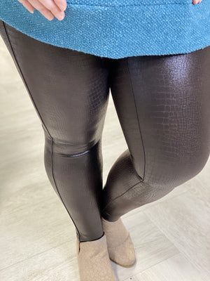 Load image into Gallery viewer, Spanx© Faux Leather Croc Shine Leggings