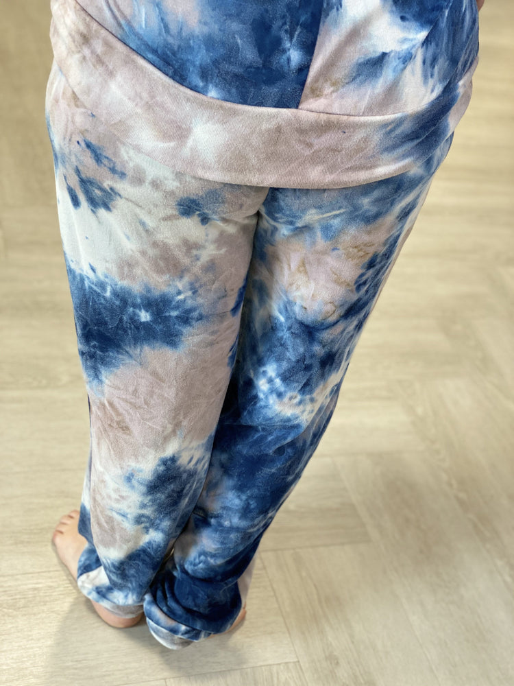 TAUPE AND SAPPHIRE TIE DYED JOGGERS