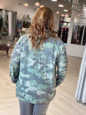 Load image into Gallery viewer, TEXTURED CAMO COWL NECK TEE
