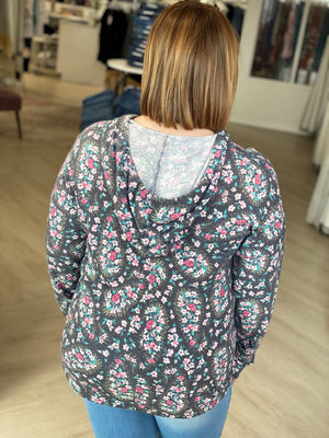 Load image into Gallery viewer, V-NECK FLORAL HOODIE