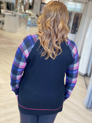 VIBRANT PLAID RAGLAN SLEEVE TUNIC