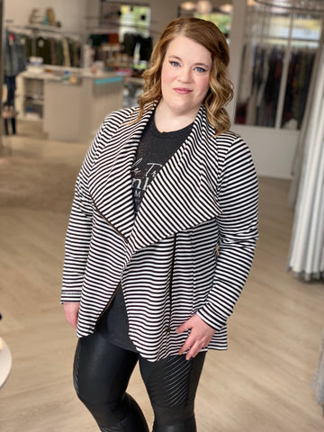 WATERFALL FRONT STRIPED CARDIGAN IN BLACK