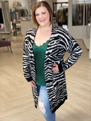 Load image into Gallery viewer, ZEBRA DUSTER CARDIGAN