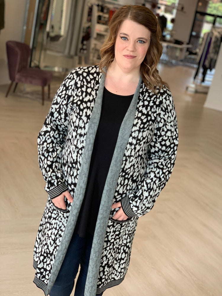 ANIMAL PRINT DUSTER CARDIGAN WITH METALLIC DETAIL