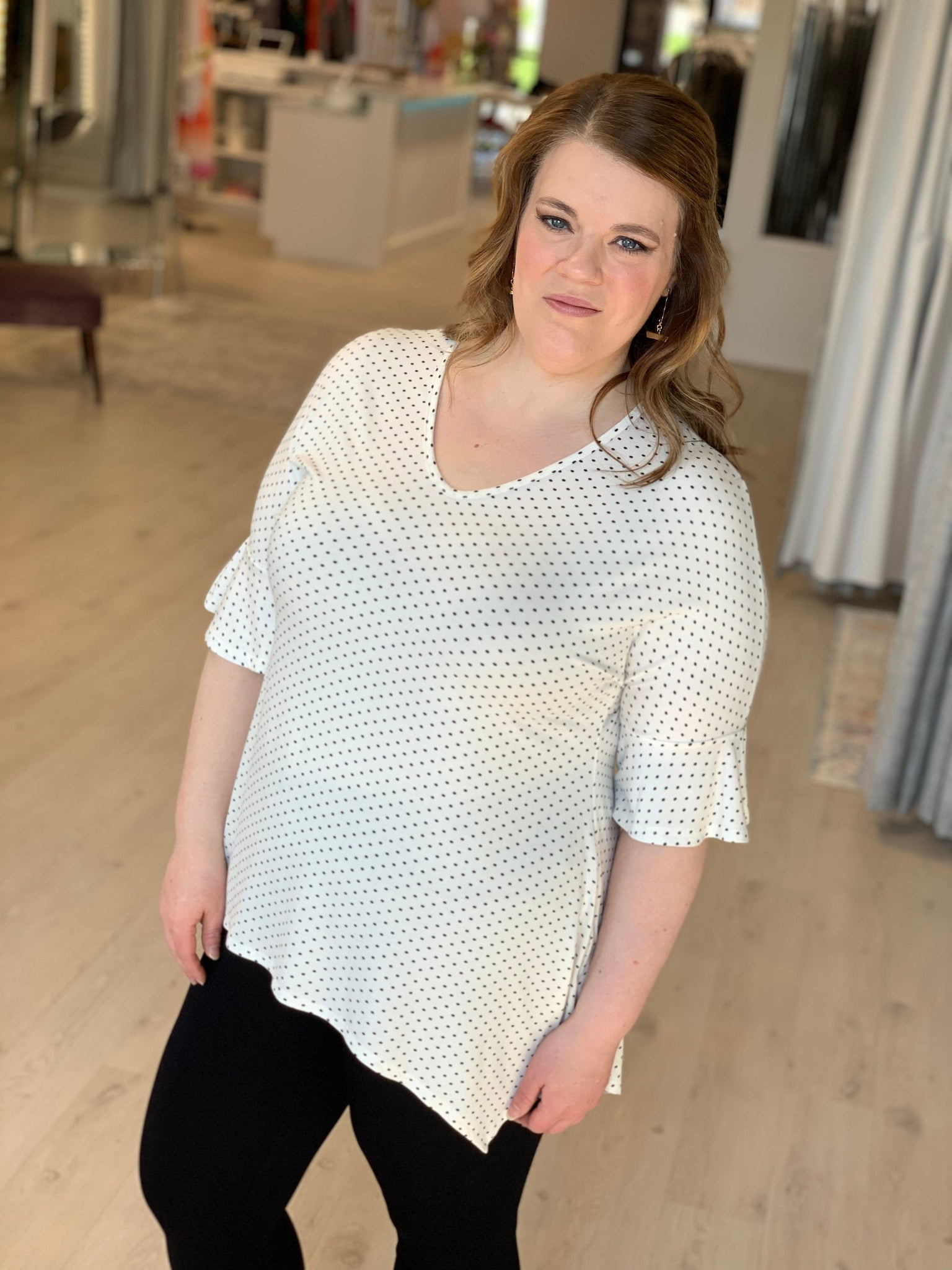 DOT TEE WITH BELL SLEEVES AND SHARK BITE HEM