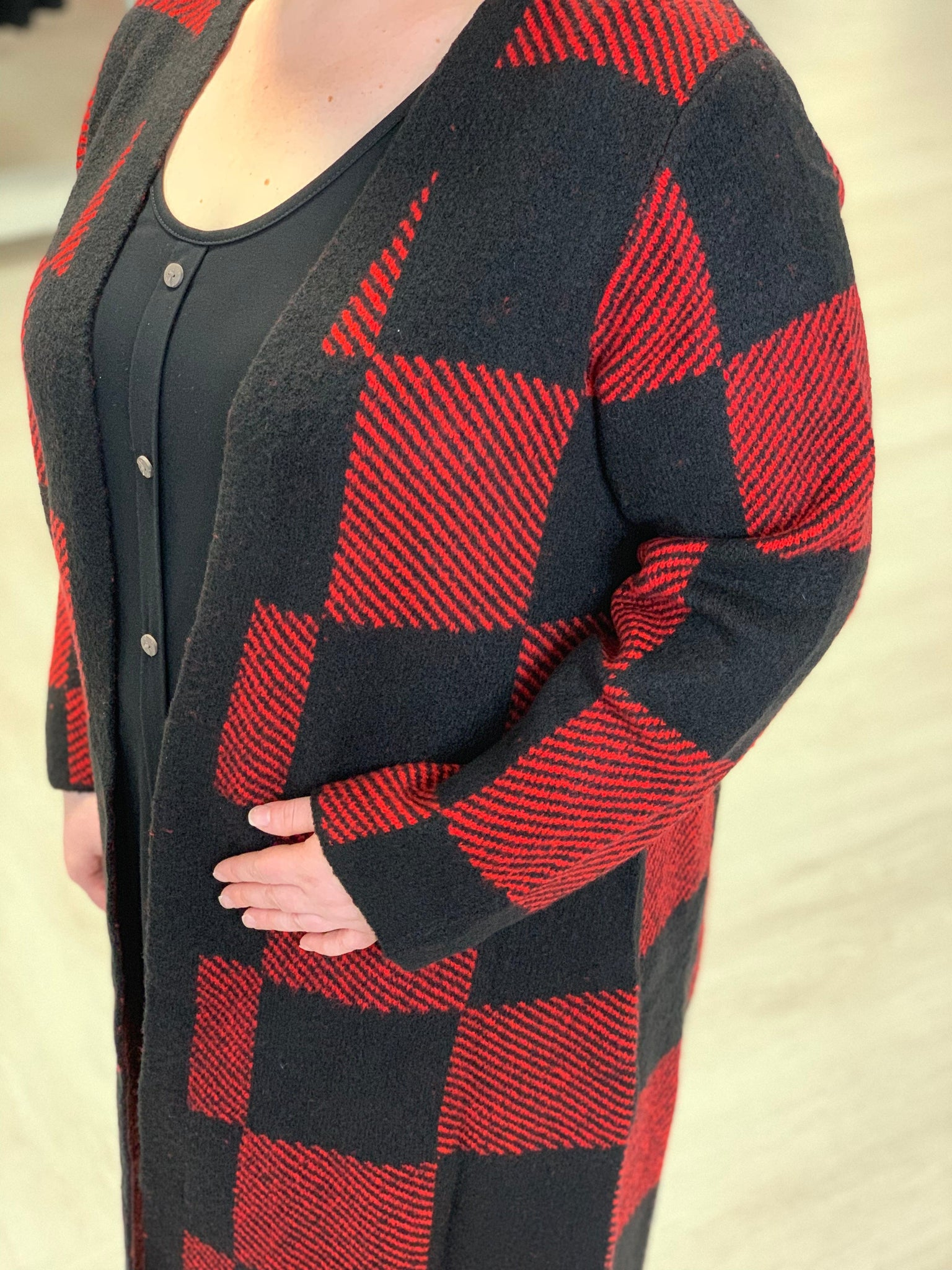 BUFFALO PLAID DUSTER CARDIGAN