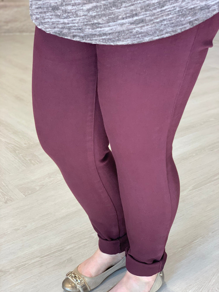 BURGUNDY HIGH RISE SKINNY JEANS