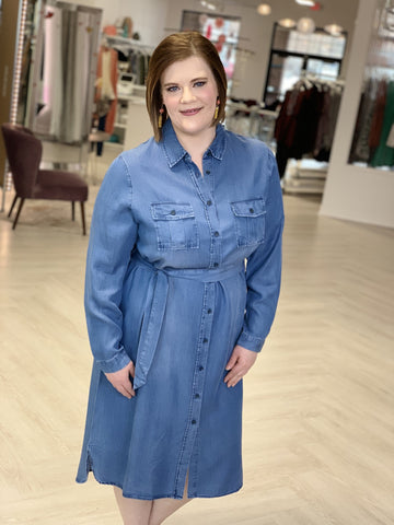 MIDI LENGTH CHAMBRAY SHIRTDRESS
