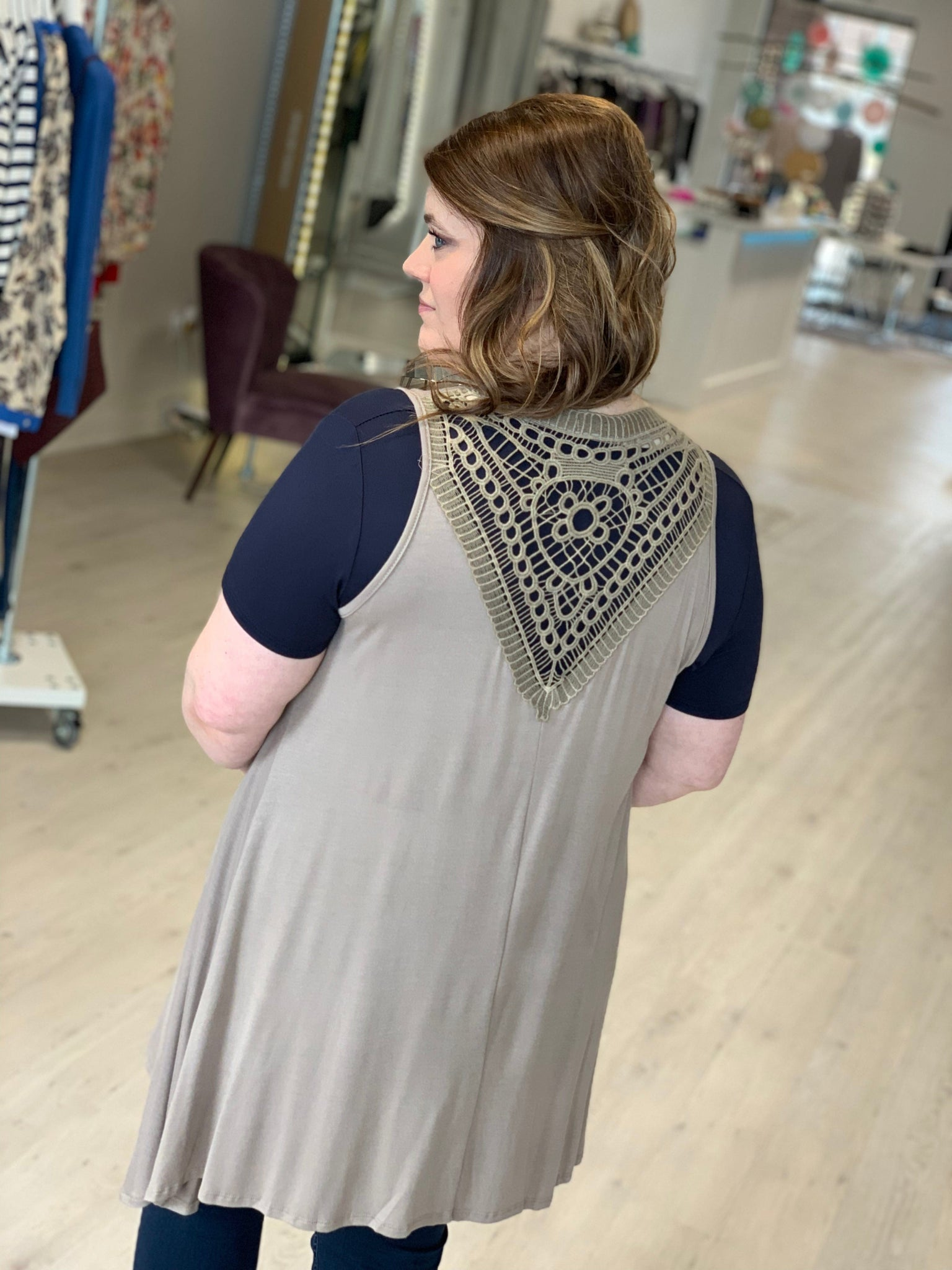 DRAPED VEST WITH CROCHET LACE — Love Marlow