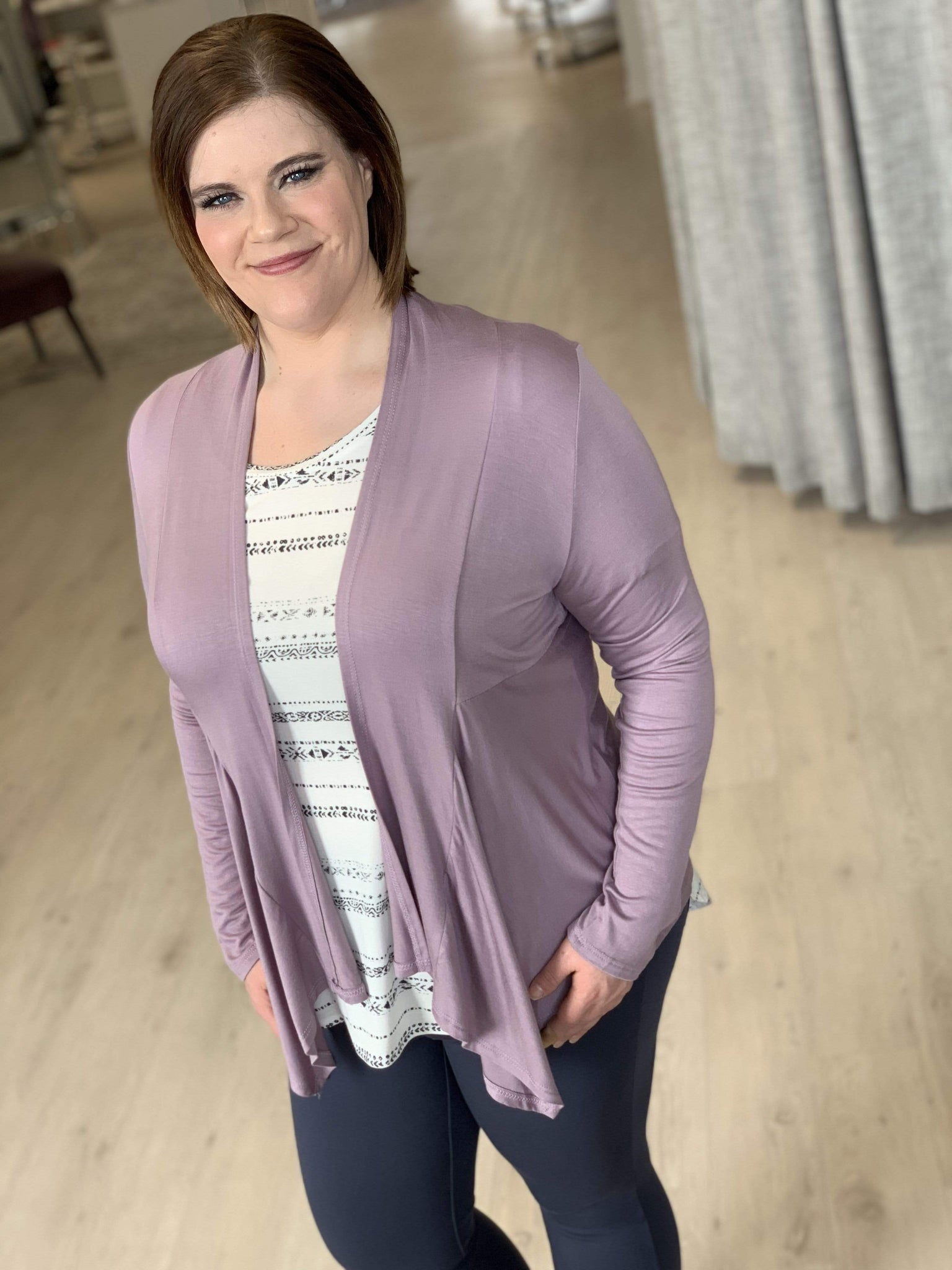 DRAPE FRONT CARDIGAN WITH BACK DETAIL