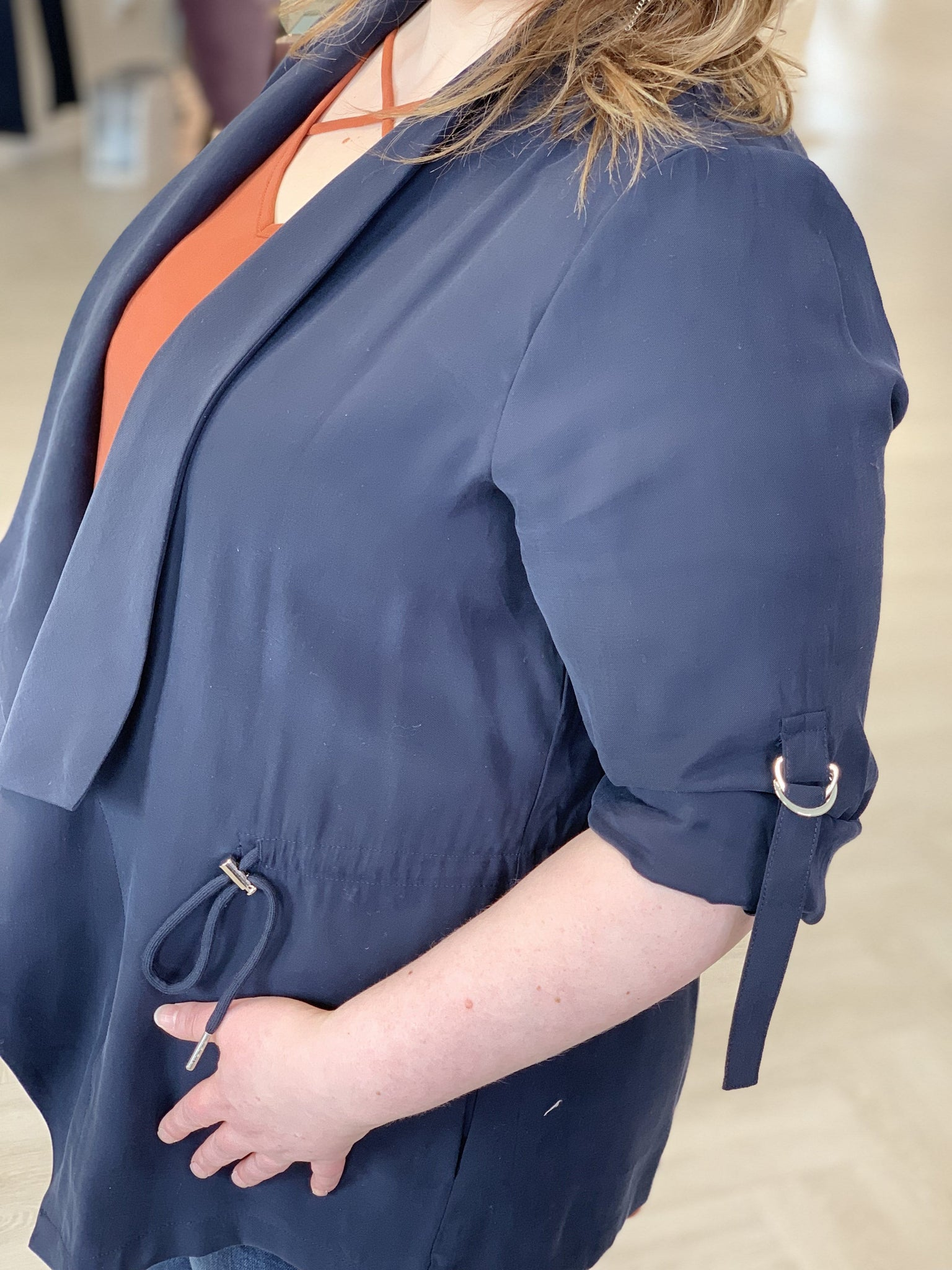 DRAPE FRONT JACKET WITH ROLLED SLEEVES