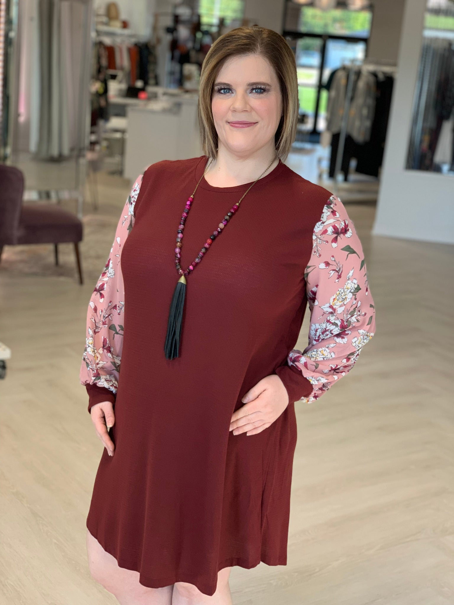THERMAL SHIRTDRESS WITH FLORAL BLOUSON SLEEVES