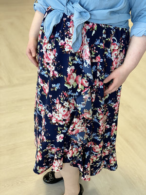 Load image into Gallery viewer, FLIRTY FLORAL MIDI SKIRT