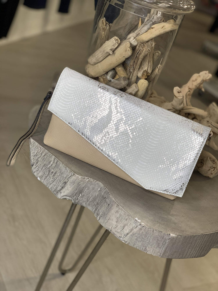 FAUX LEATHER AND PYTHON ENVELOPE CLUTCH