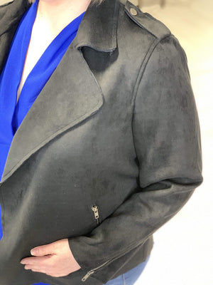 Load image into Gallery viewer, MICRO SUEDE MOTO JACKET