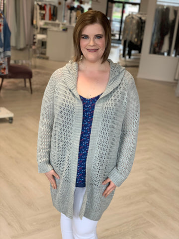 OPEN KNIT CARDIGAN WITH HOOD