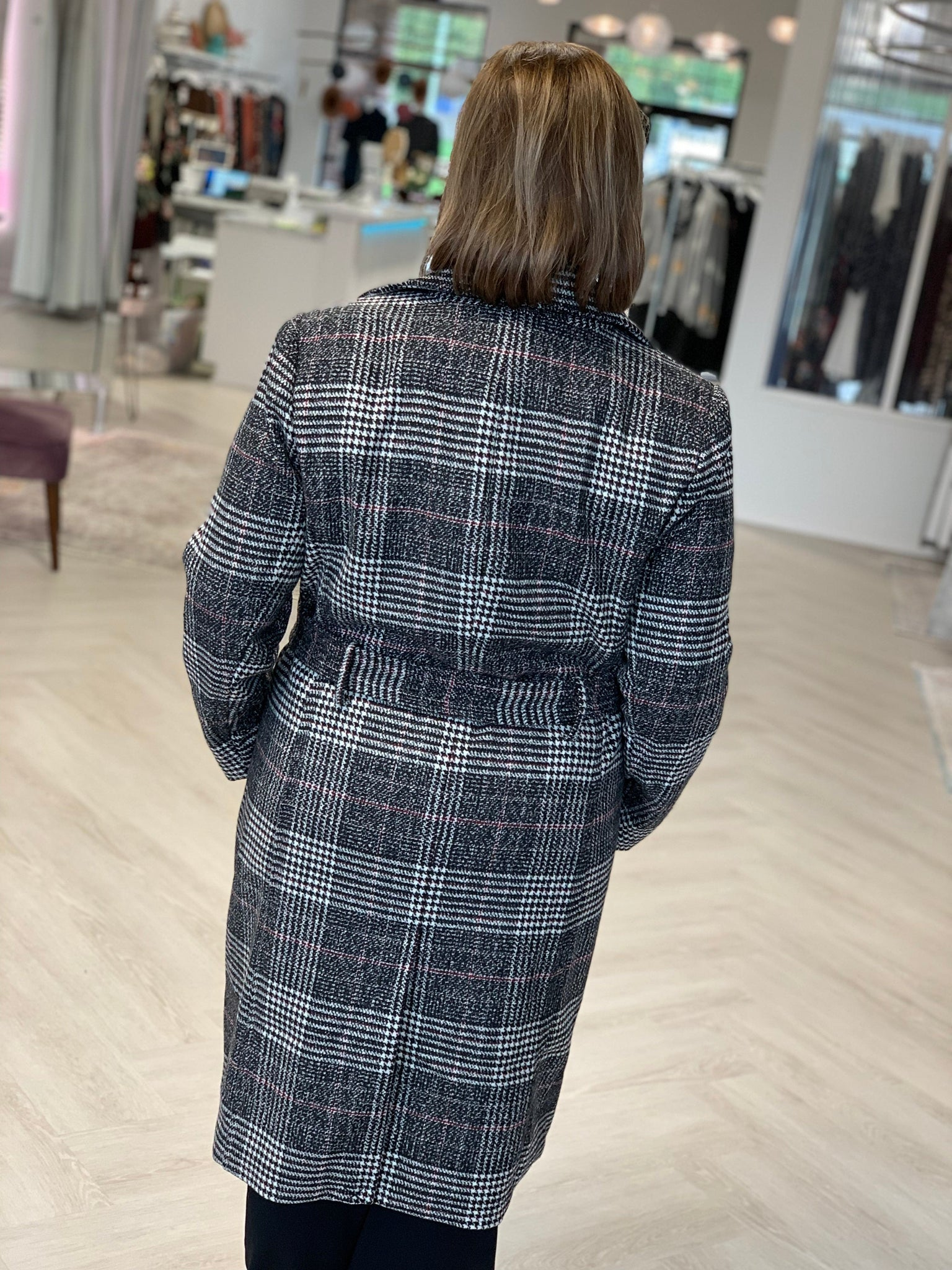PLAID TWEED OPEN FRONT TRENCH