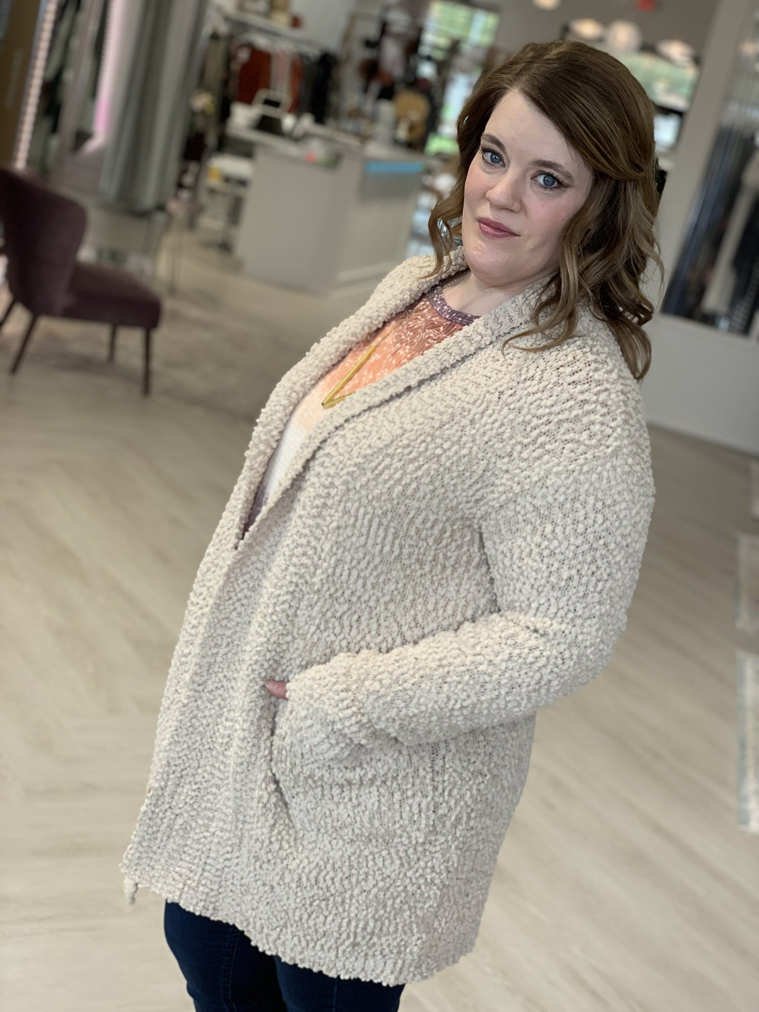 OPEN FRONT POPCORN CARDIGAN WITH FRONT POCKETS
