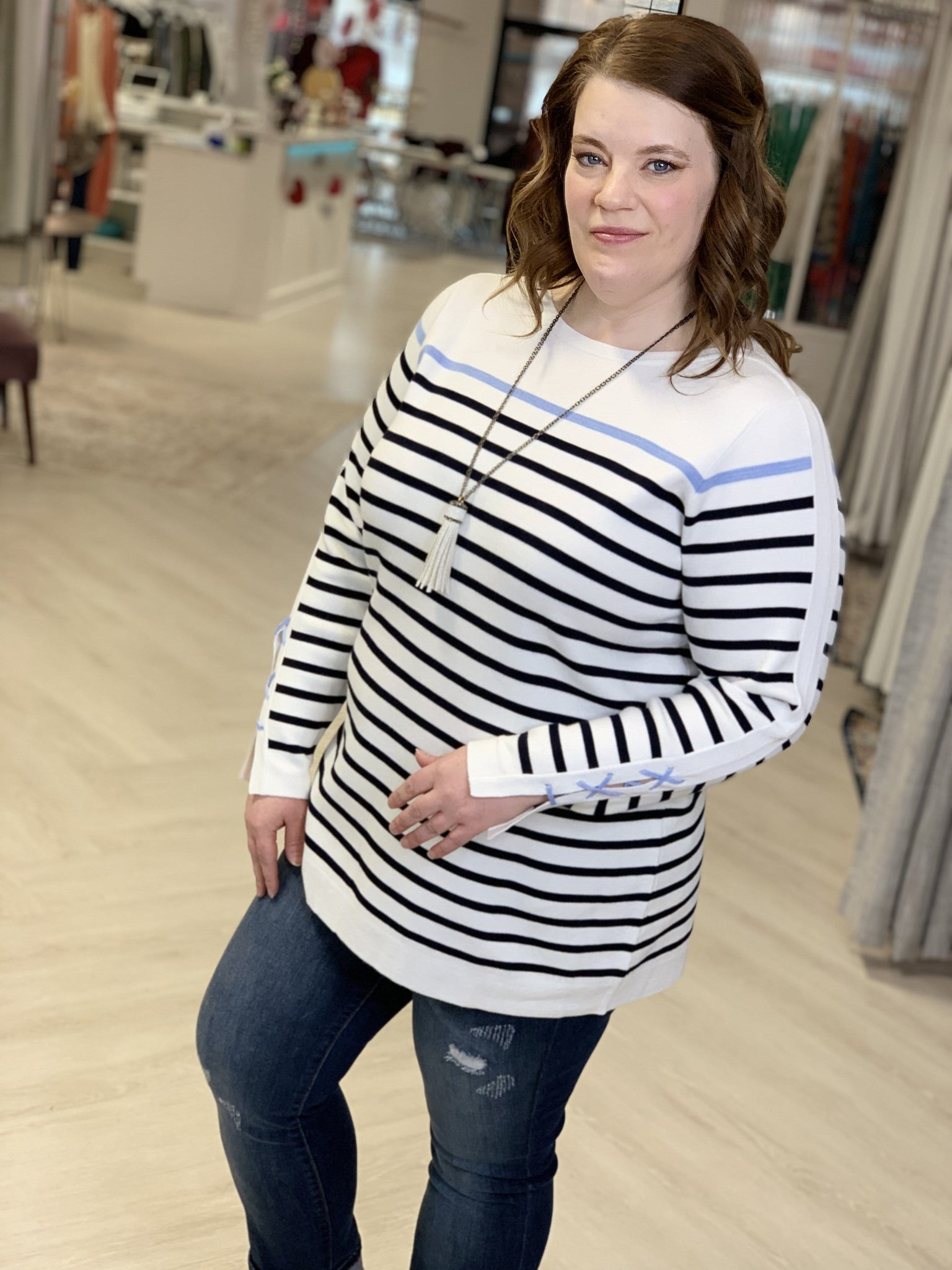 STRIPED BOAT NECK SWEATER WITH CRISS CROSS CUFFS