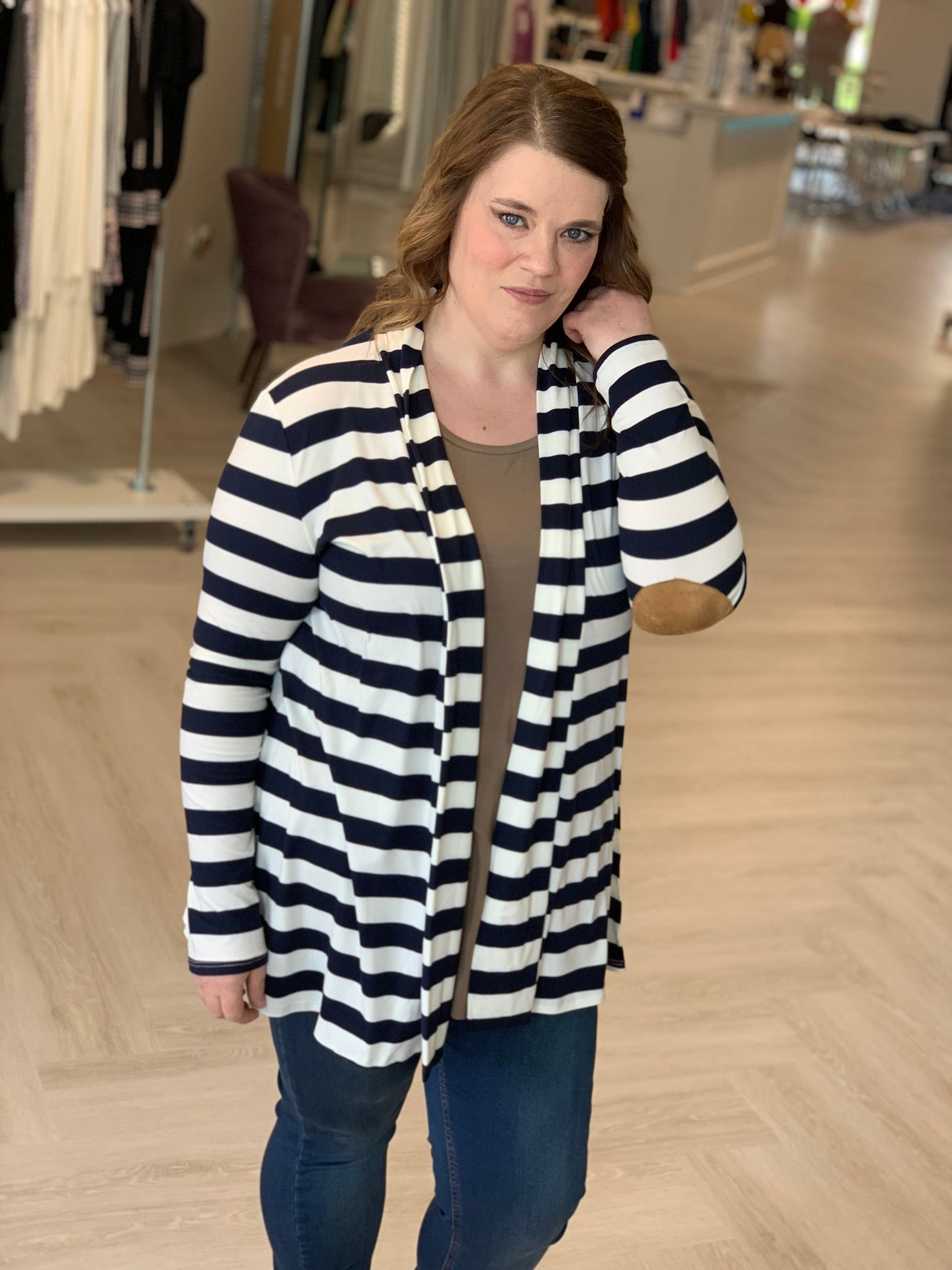 LIGHTWEIGHT STRIPED CARDIGAN WITH SUEDE ELBOW PATCH