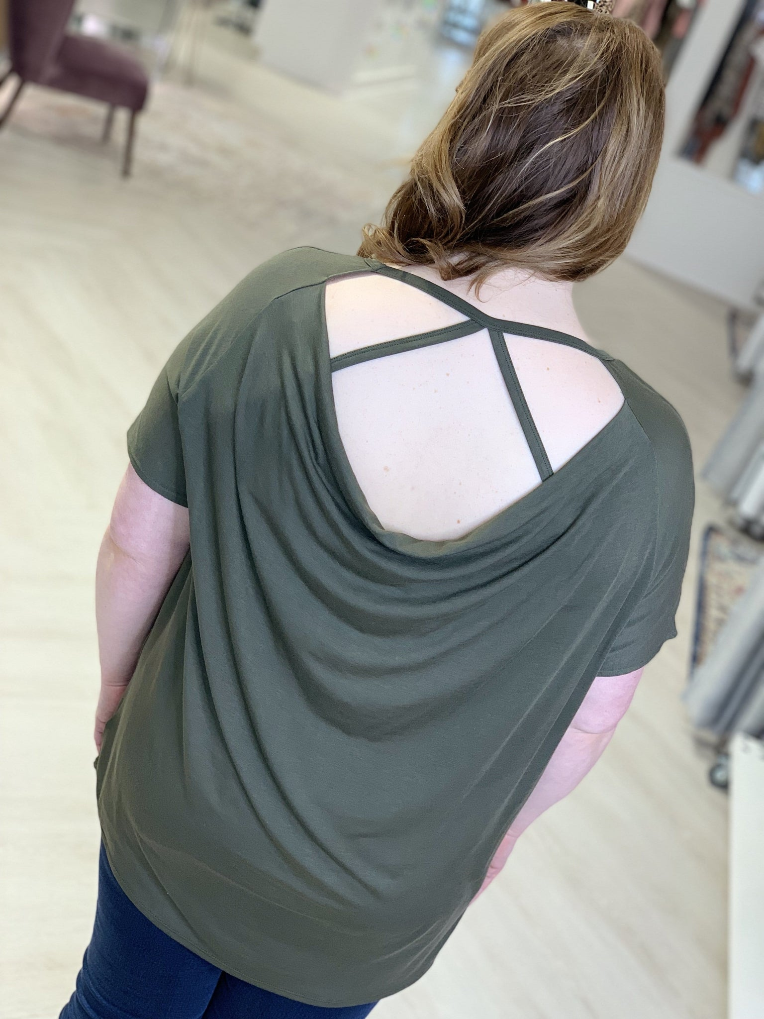 V-NECK TEE WITH DRAPE BACK AND STRAPS