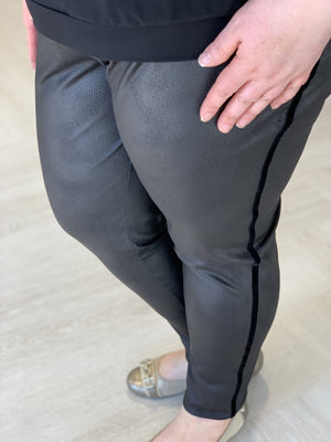Load image into Gallery viewer, VELVET STRIPE FAUX LEATHER TREGGINGS