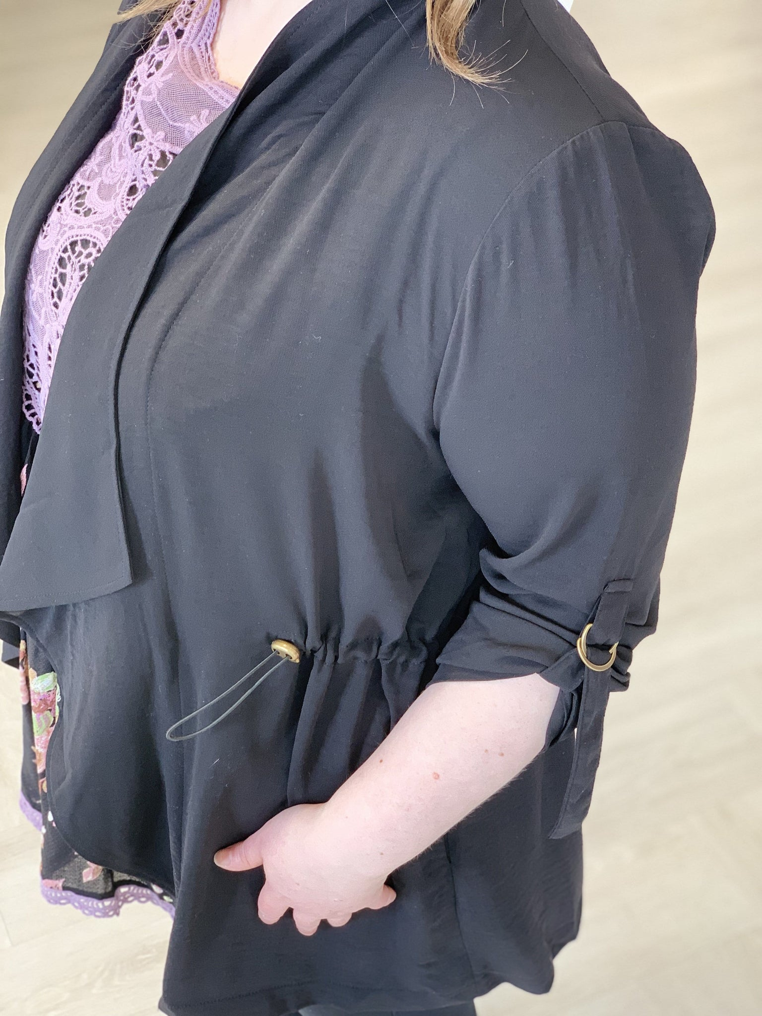 WOVEN DRAPE FRONT JACKET WITH ROLLED CUFFS