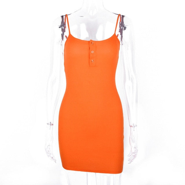 Hugcitar neon orange solid spaghetti straps sexy bodycon mini dress 2019 summer women high waist party club streetwear clothes
