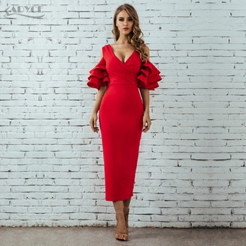Adyce 2019 New Summer Women Club Dress Vestidos Celebrity Party Dress Yellow Red Ruffle Butterfly Short Sleeve Midi Club Dresses