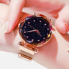 Image of Top Brand Watches For Women Rose Gold Mesh Magnet Buckle Starry Quartz Watch Geometric Surface Casual Women Quartz Wristwatch