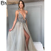 Image of Promworld Backless Grey Evening Dresses 2019 Sexy Prom Dresses with Slit Rhinestone Tulle See Through Long Evening Gowns