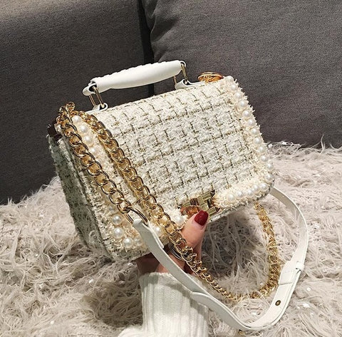 2019 Winter Fashion New Female Square Tote bag Quality Woolen Pearl Women's Designer Handbag Ladies Chain Shoulder Crossbody Bag