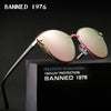 Image of BANNED 1976 Luxury Women Sunglasses Fashion Round Ladies Vintage Retro Brand Designer Oversized Female Sun Glasses oculos gafas
