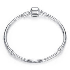 Luxury 100% 925 Sterling Silver Original 3 Styles Chain Bracelet Bangle for Women Fit DIY Charm Bead Authentic Fine Jewelry Gift