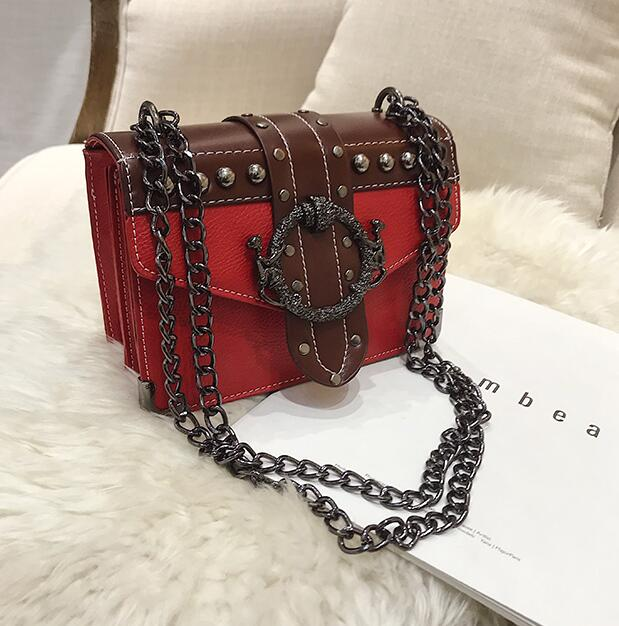 European Fashion Female Square Bag 2019 New Quality PU Leather Women's Designer Handbag Rivet Lock Chain Shoulder Messenger bags
