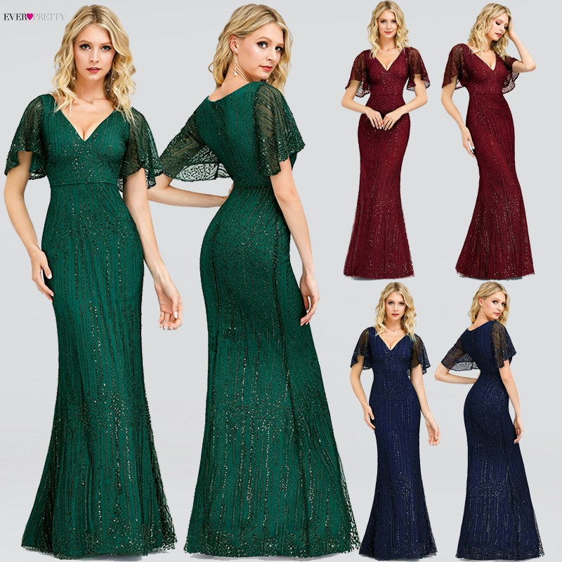 Sparkle Mermaid Evening Dresses Long Ever Pretty Sequined V-Neck Short Sleeve Elegant Formal Party Gowns Vestidos Largos Fiesta