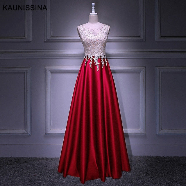KAUNISSINA Woman Evening Party Ceremony Dresses Long Dress O Neck Lace Satin Beading Floor Length Prom Gown Real Photo Vestido