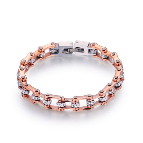 SDA Fashion Populare Rose Gold Crystal bicycle Bracelets 316L Stainless Steel Link Biker Chain Bracelet Girl Women Gift YM103