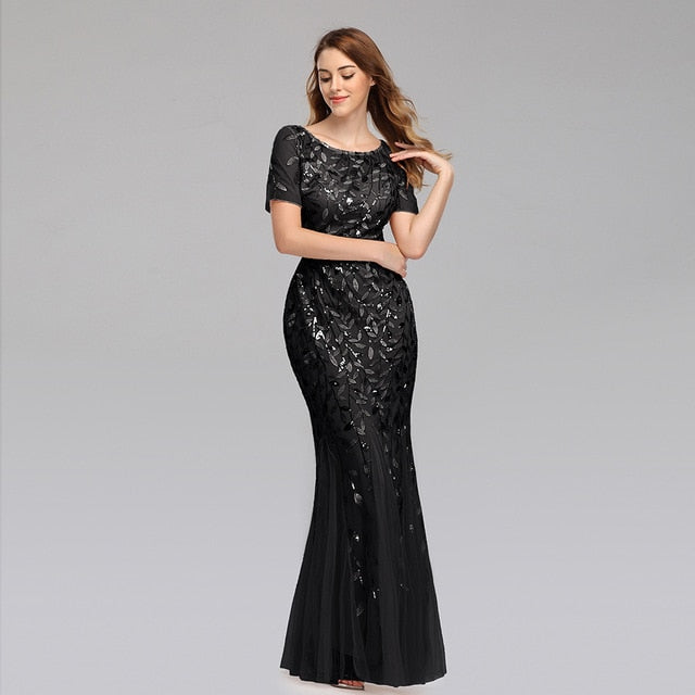 Plus Size Evening Dresses Mermaid O Neck Short Sleeve Lace Appliques Tulle Long Party Gown Robe Soiree Sexy Formal Dress vestido